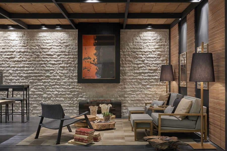 Sala De Estar Rustica ~ Sala de Estar Rústica com Teto de Madeira