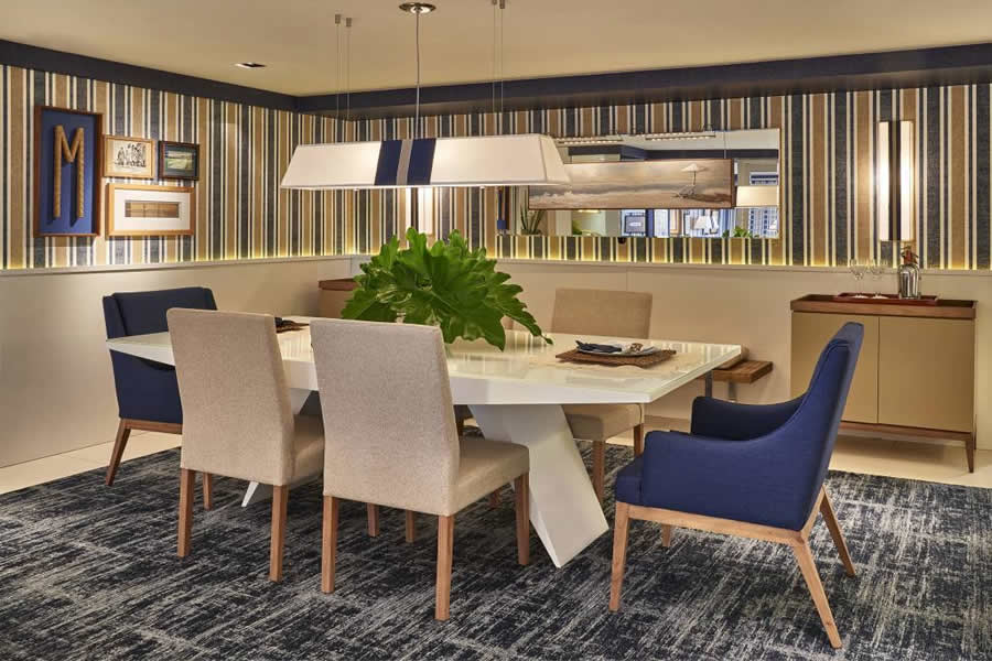 Sala de Jantar om Papel de Parede Amarelo e Azul