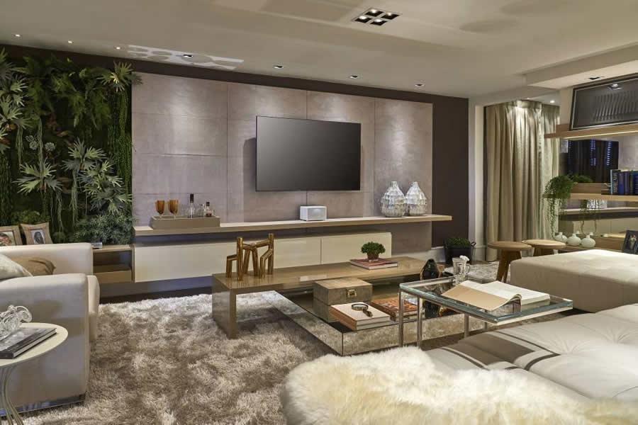 Painel De Sala De Tv Decorado ~ Sala de TV com Painel de Pedra