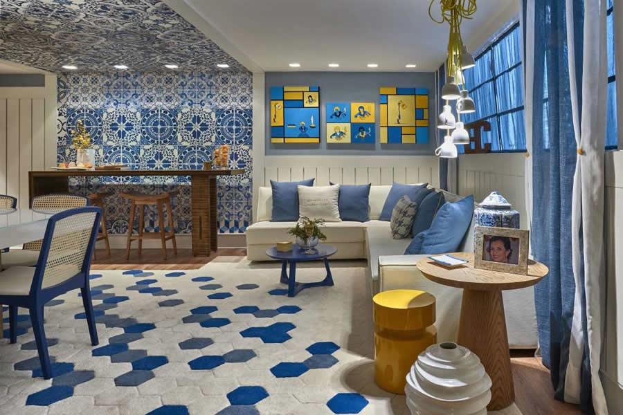 Sala Decorada Azul e Amarelo