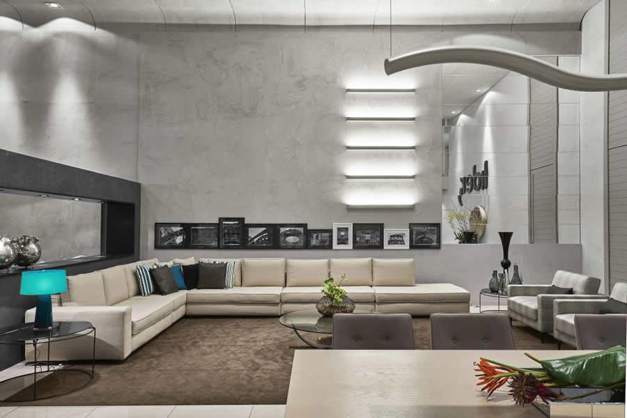 Sala Moderna com Cimento Queimado