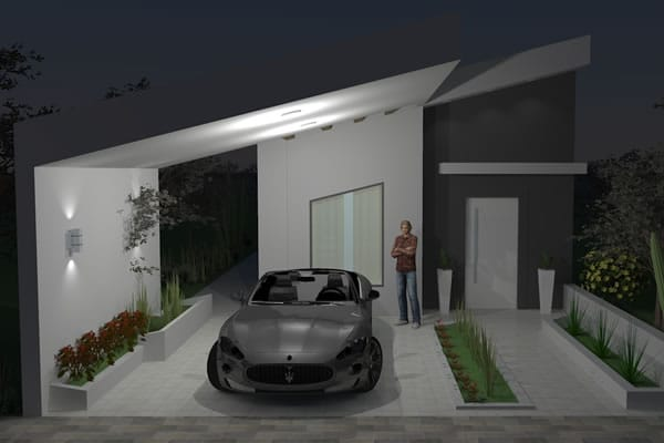 Casa simples com jardim