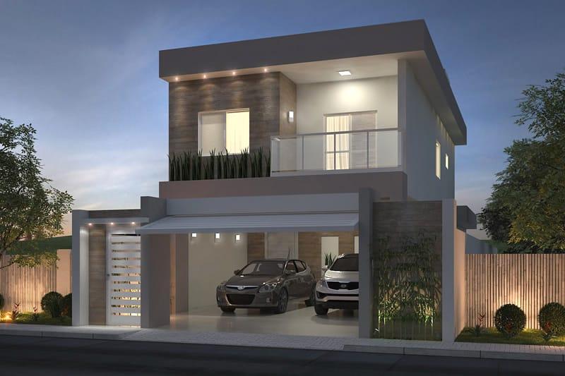 Planta de sobrado com 3 quartos projetos de casas for Fachadas de casas modernas de 2 quartos