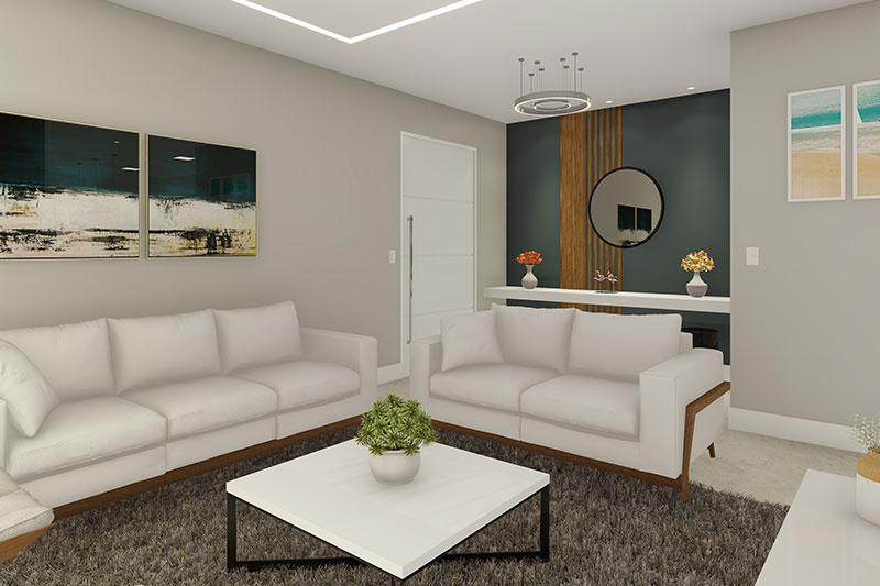 Sala de estar com estante