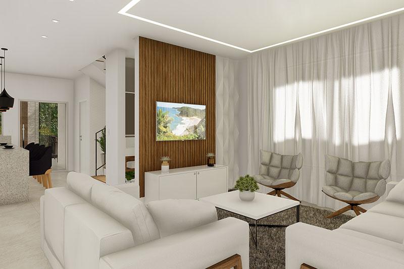 Sala de tv com cortina