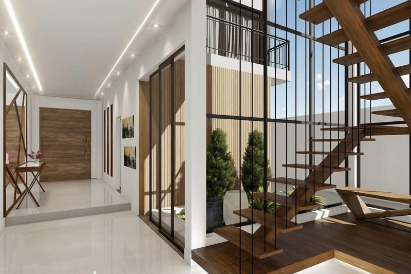 Escada vazada de madeira