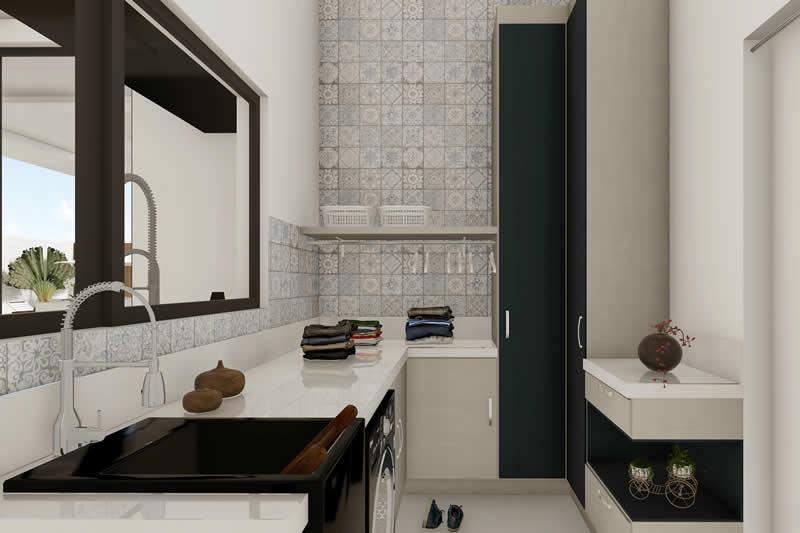 Lavanderia com bancada e armário