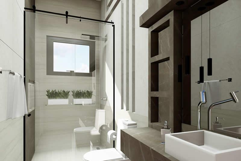 Banheiro moderno de solteiro