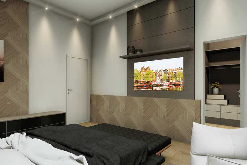 Quarto com TV na parede