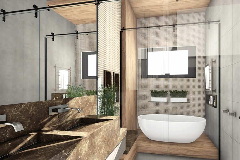 Banheiro de casal com 2 cubas e banheira