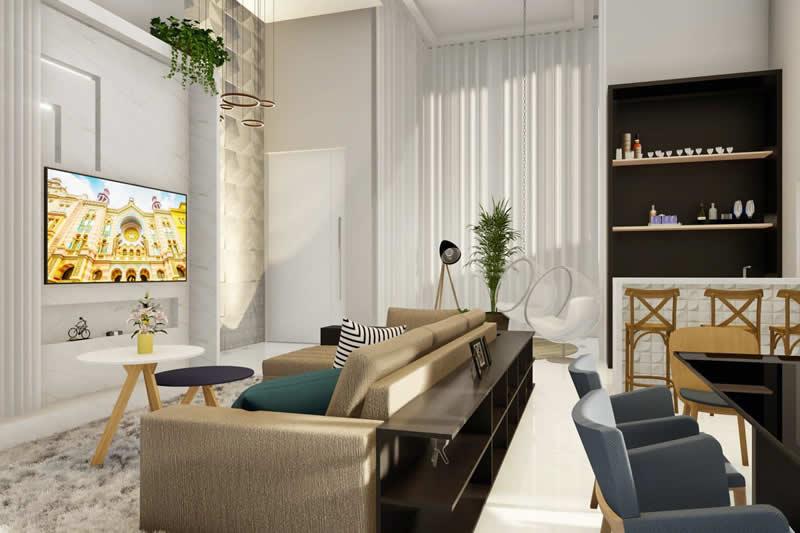 Sala de estar com revestimento
