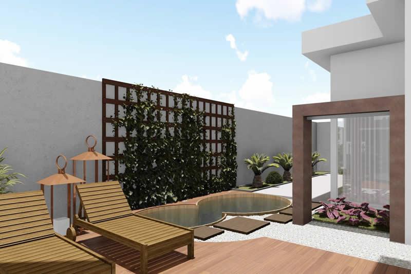 Área externa com jardim vertical