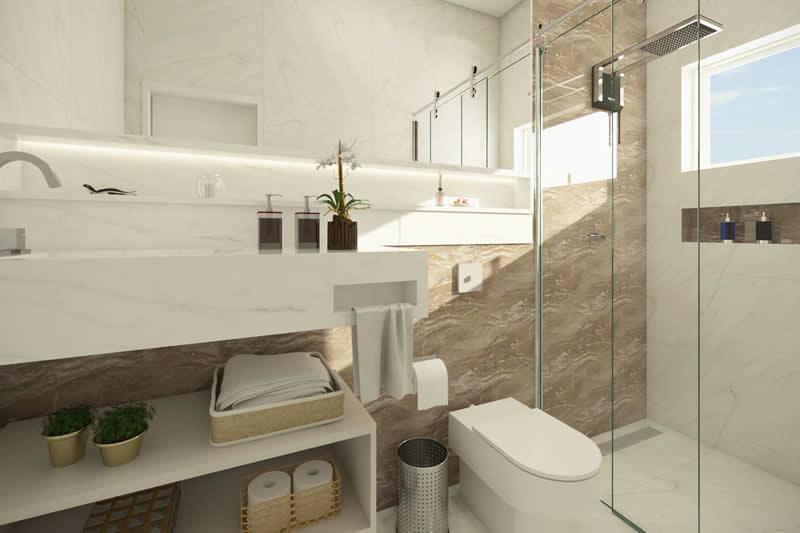 Banheiro com espelho grande