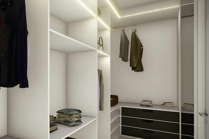 Closet com fita de led