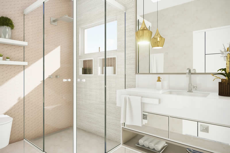 Banheiro com pendente dourado