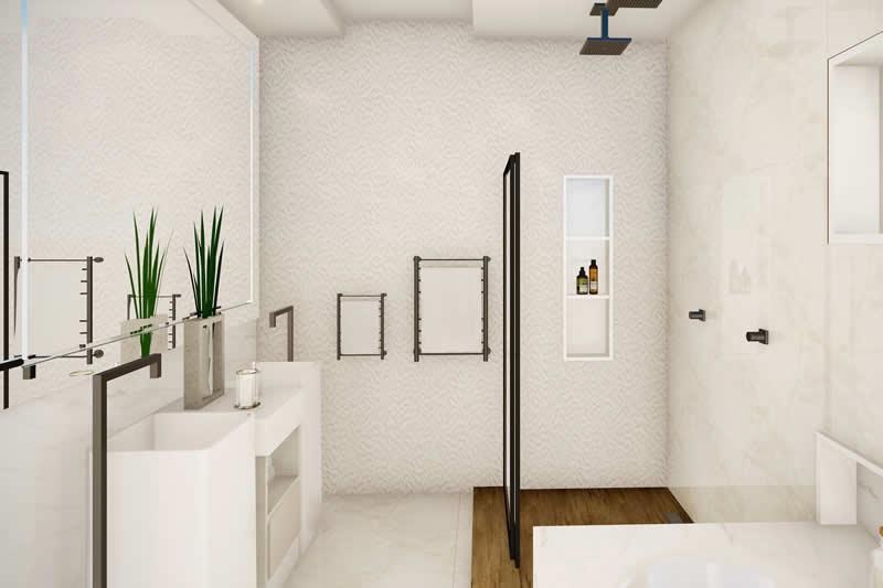 Banheiro de casal com 2 cubas e 2 chuveiros