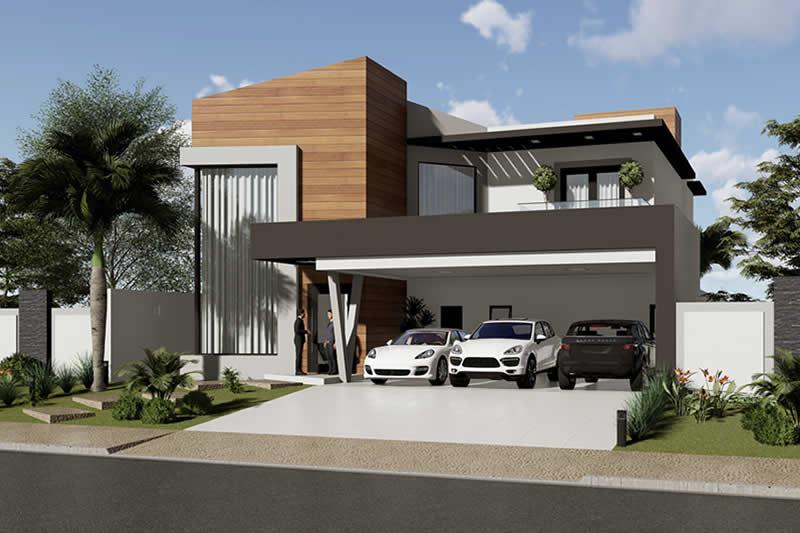 Fachada de casa com garagem