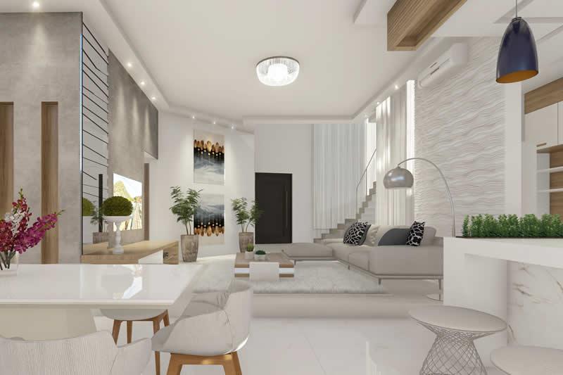 Sala de TV integrada a cozinha