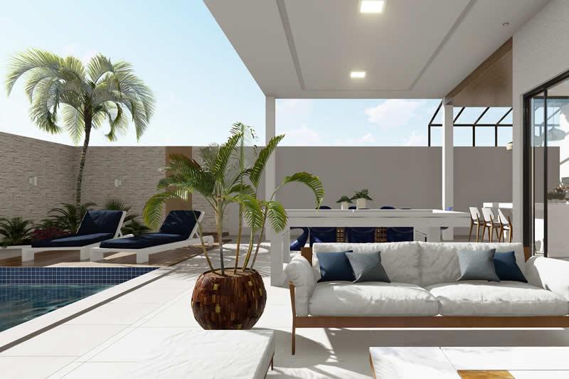 Área de lazer com piscina, deck e sofa