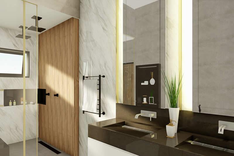 Banheiro com duas cubas