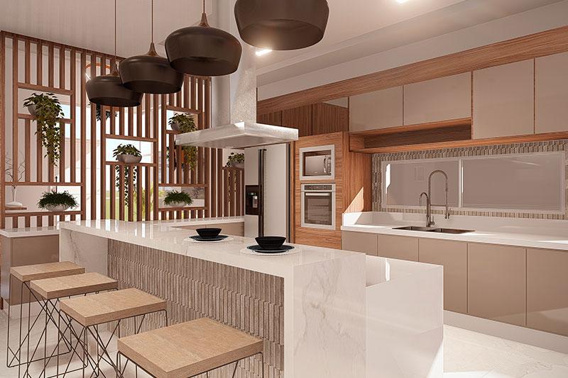 Cozinha com ilha e banquetas