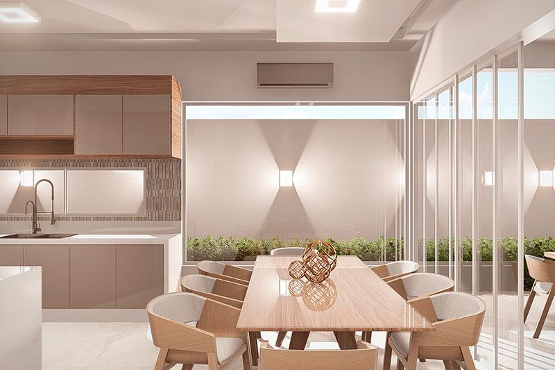 Sala de jantar com parede de vidro