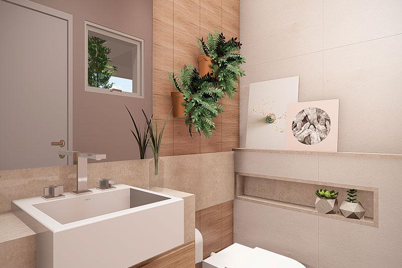Banheiro com revestimentos em madeira