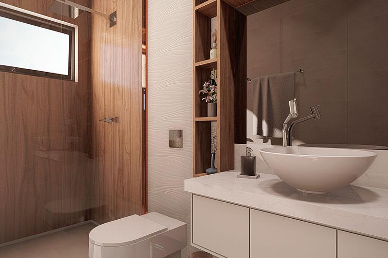 Banheiro com revestimentos escuros de madeira
