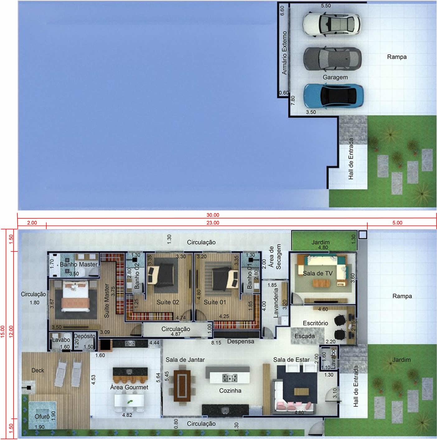 Planta De Casa Com Garagem Subterr 226 Nea Projetos De Casas
