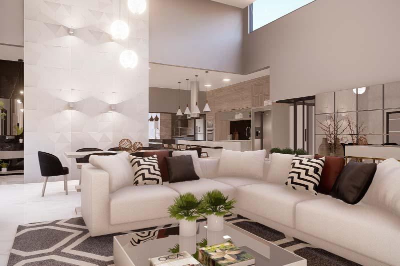 Sala de TV com sofá grande