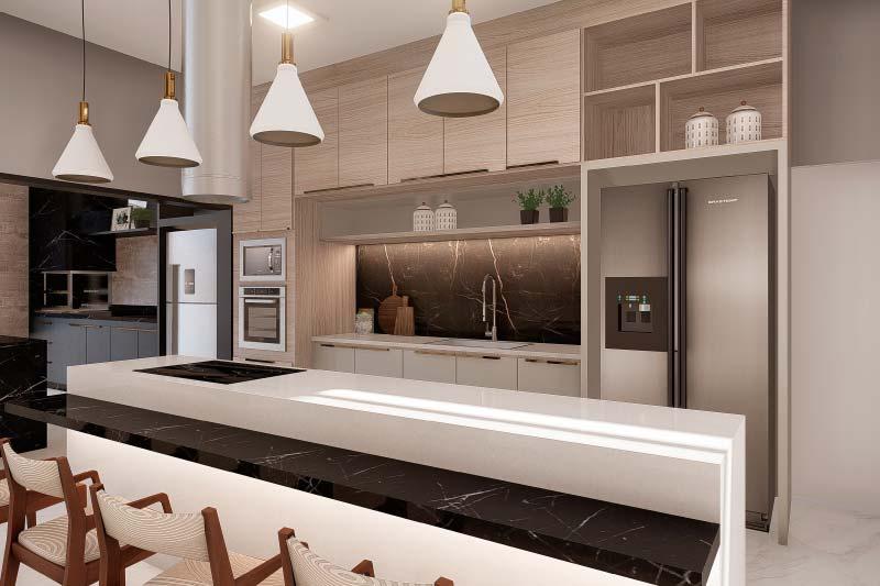 Cozinha com bancada branca
