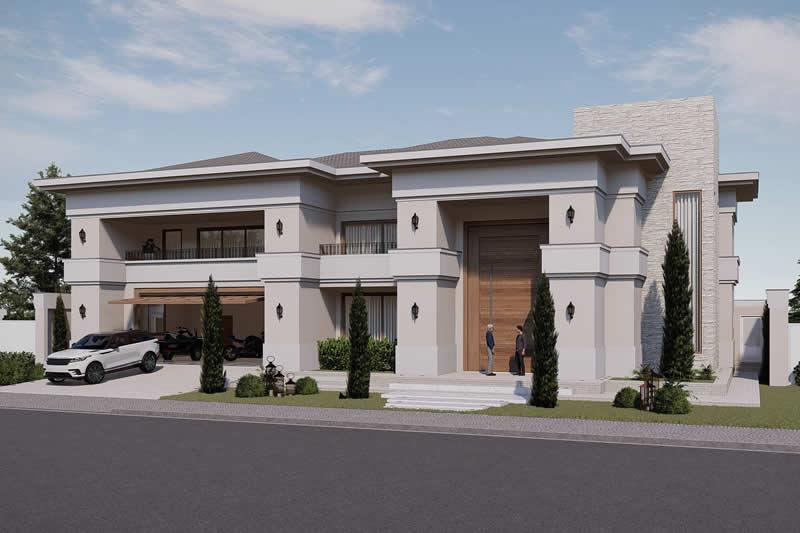 Fachada de casa moderna grande