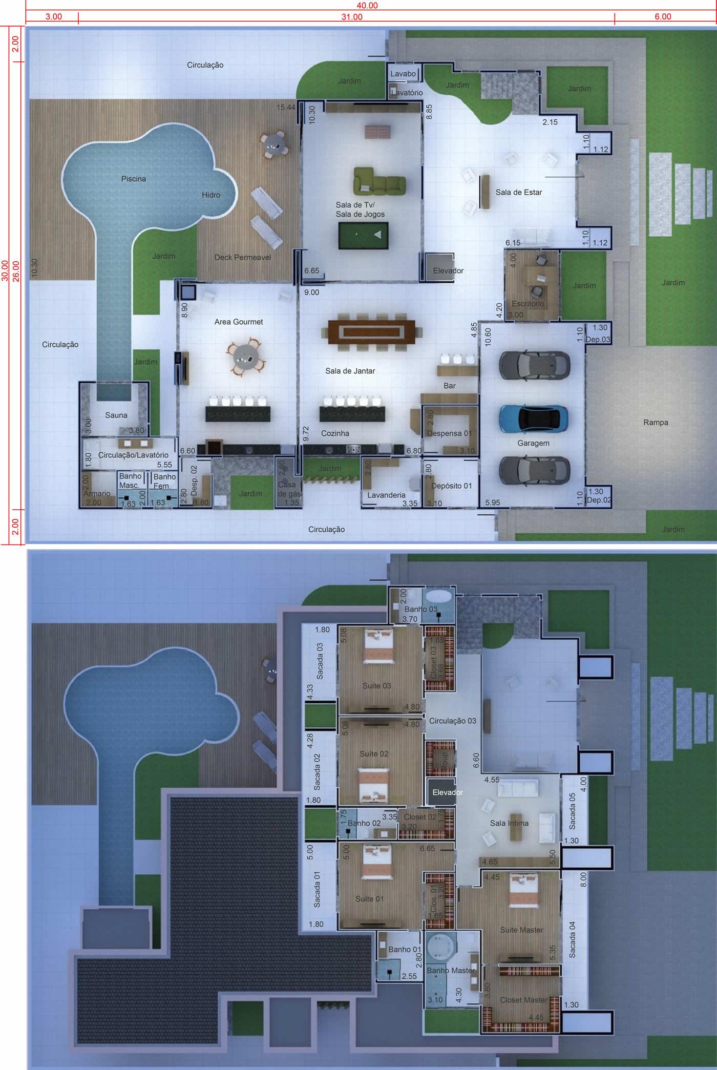 Projeto de mansão neoclássica. Planta para terreno 30x40