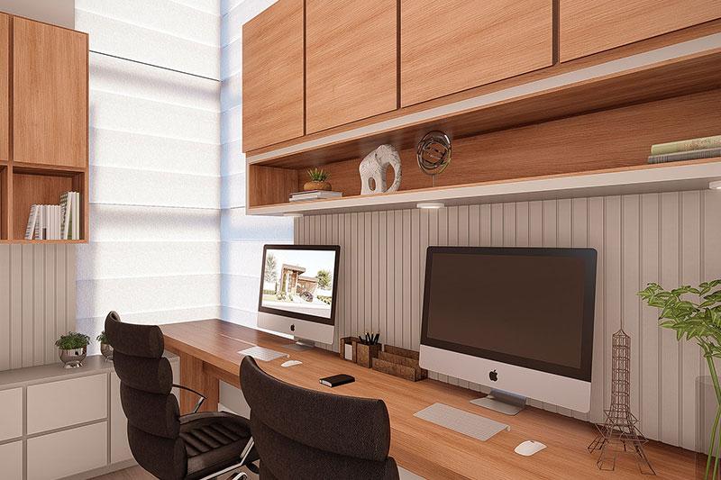Escritório com armário e bancada em madeira