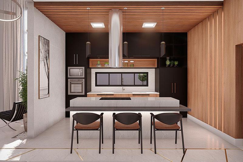 Cozinha com madeira na parede e teto