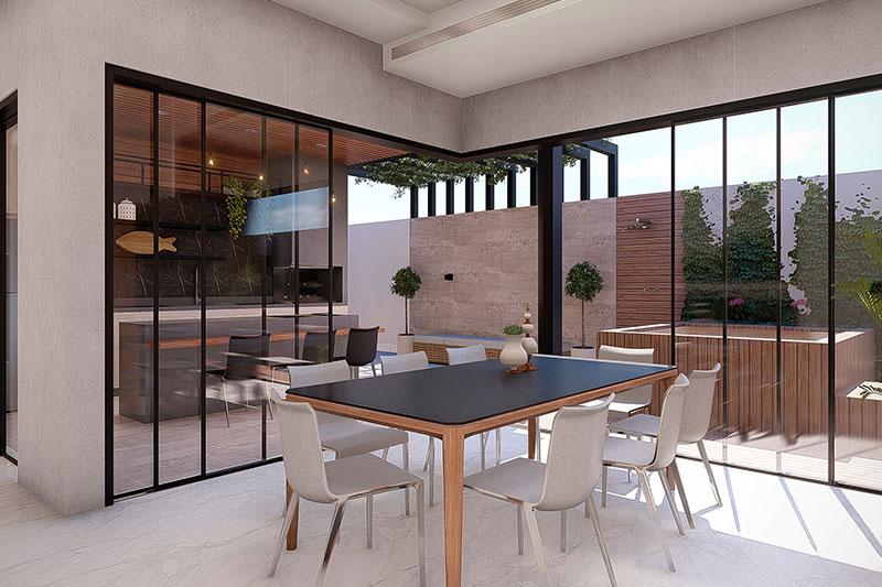 Sala de jantar com vista para área gourmet