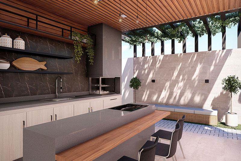Área gourmet com madeira e pergolado