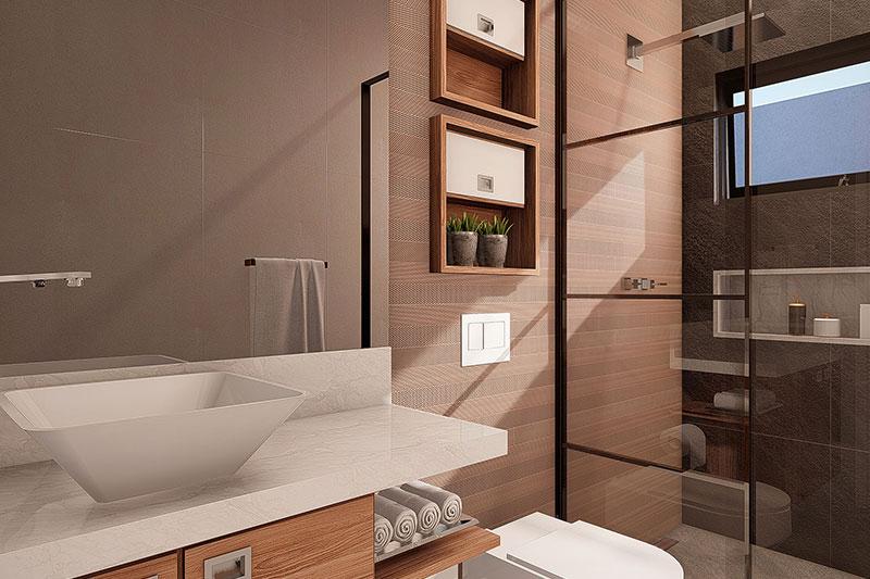 Banheiro moderno com cuba quadrada