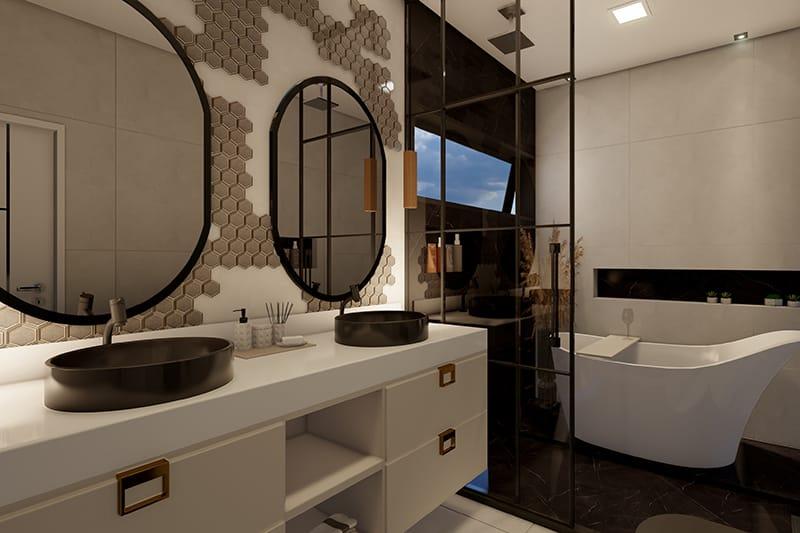 Planta de casa com espelho d'água