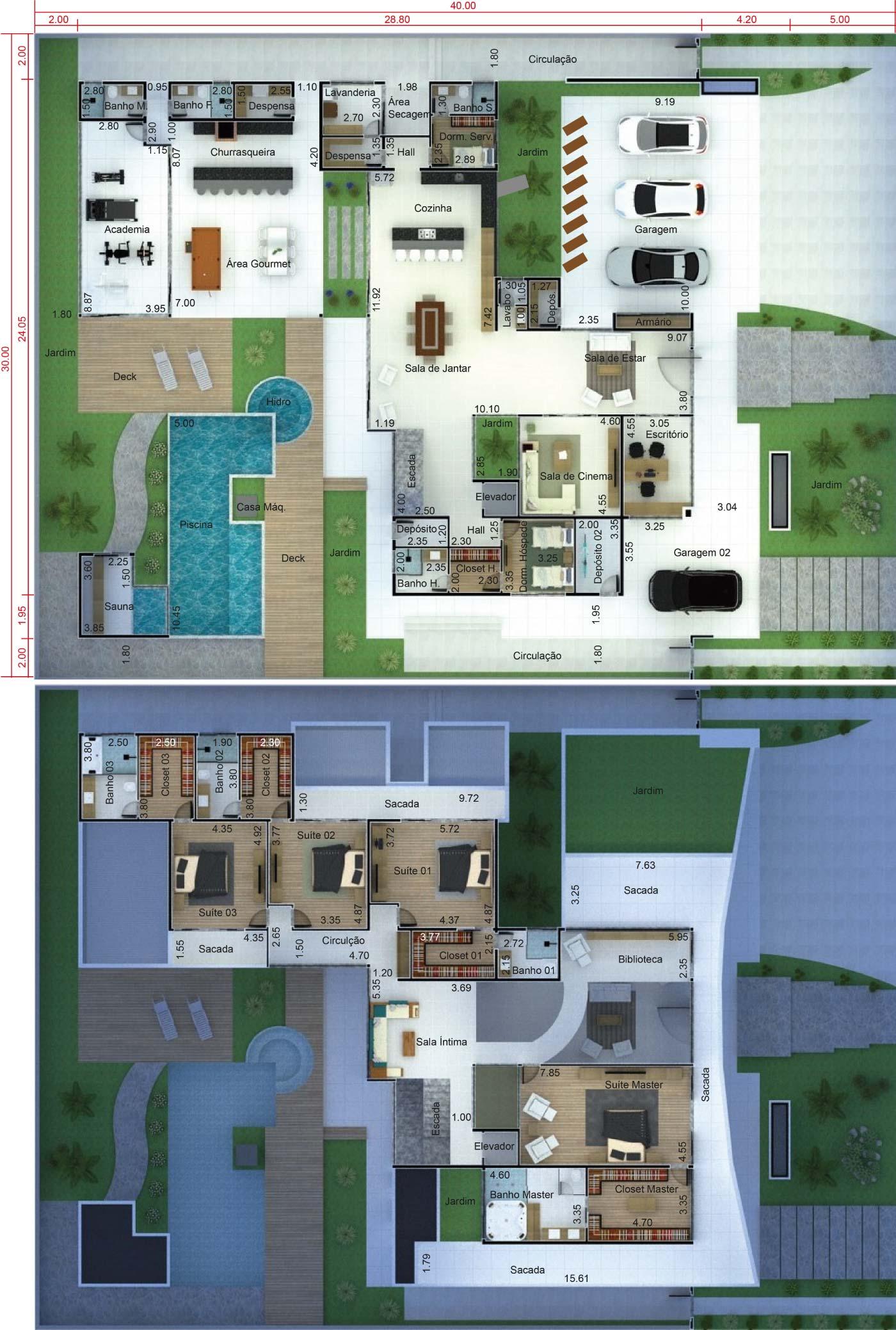 Projeto de mansão contemporânea. Planta para terreno 30x40