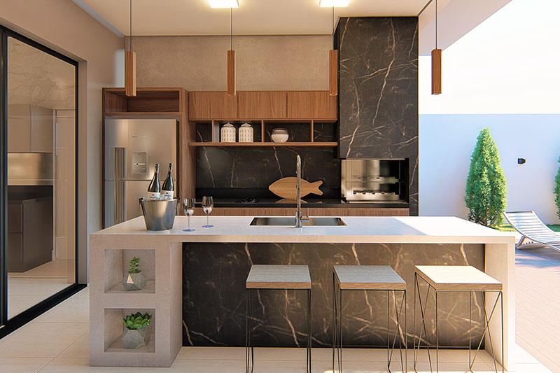 Área Gourmet com churrasqueira moderna