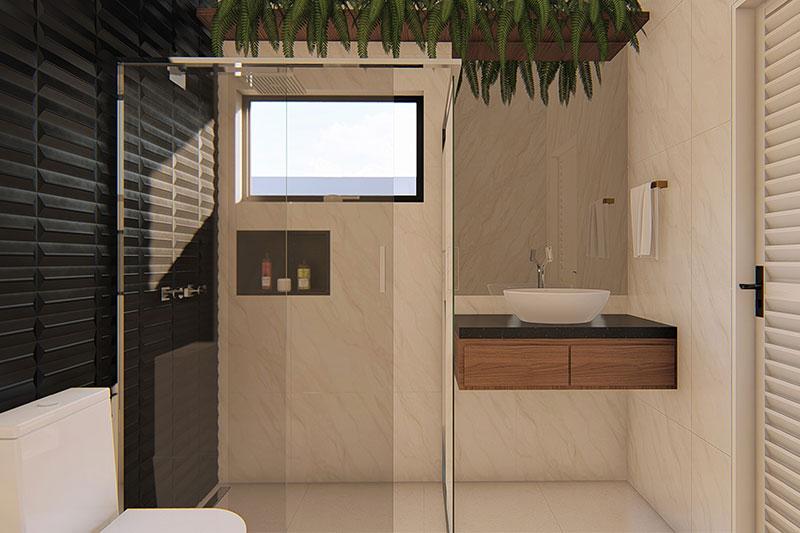 Banheiro com parede em preto