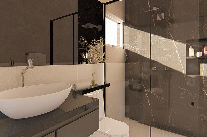 Banheiro com pia em preto