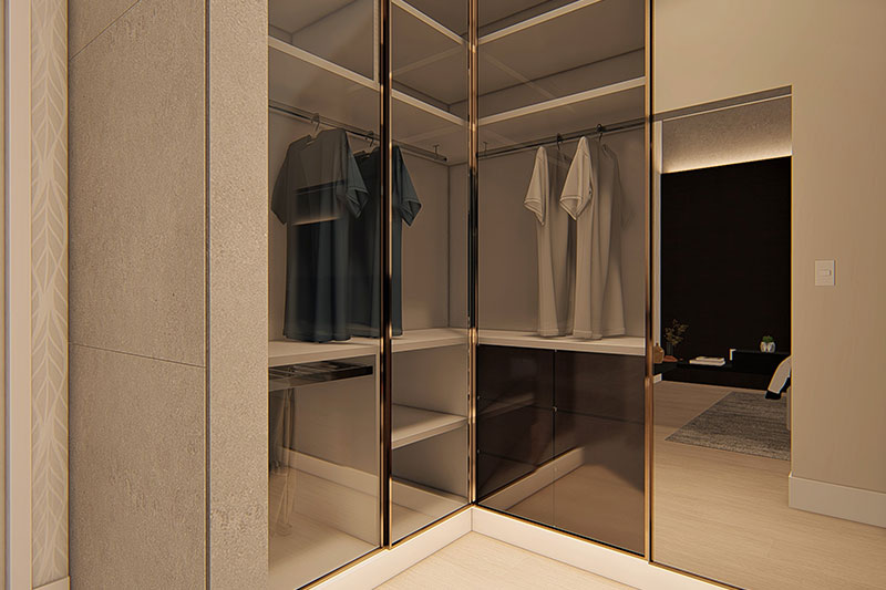 Closet com detalhes em vidro
