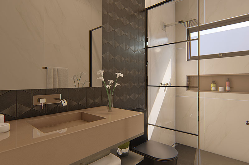 Banheiro com pia moderna