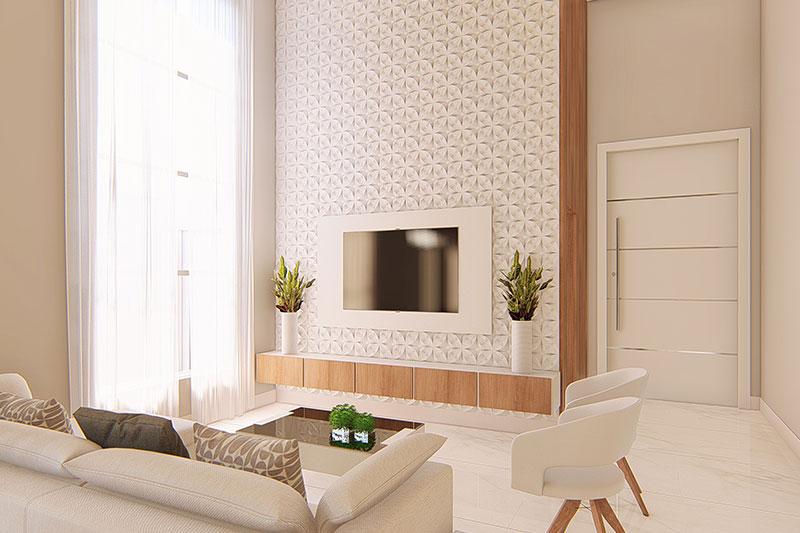 Sala de TV com papel de parede