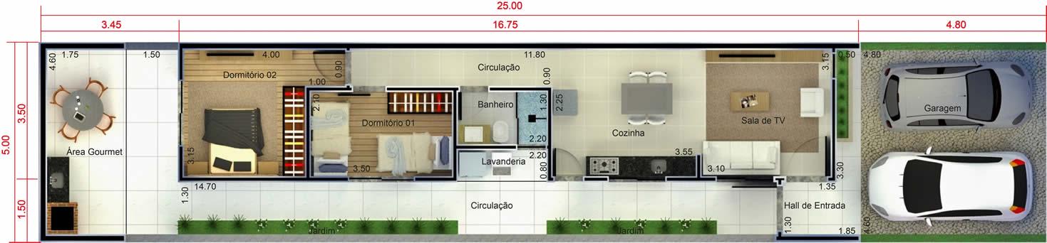 Planta minha casa minha vida 2 quartos. Planta para terreno 5x25