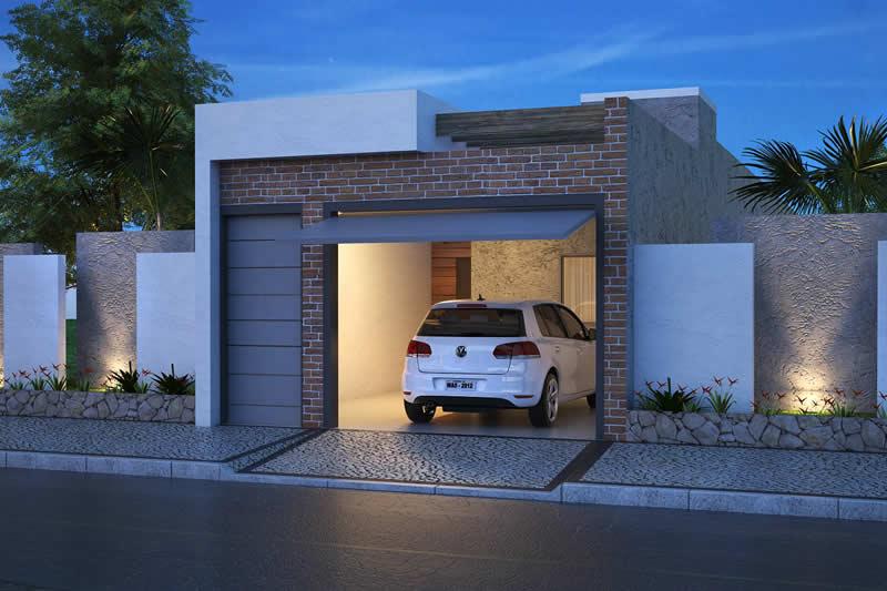 Fachada de casa de tijolos pequena