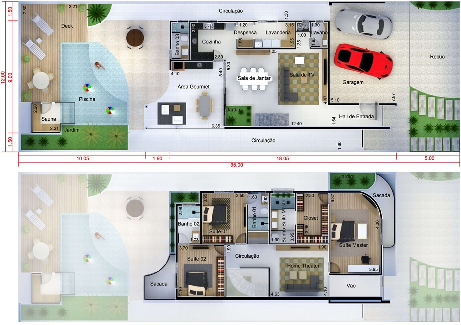 Projeto de casa de praia. Planta para terreno 12x35