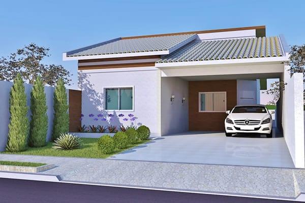 Planta de casa t rrea contempor nea projetos de casas for Plantas de casas tipo 3 modernas